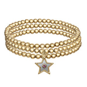 Set of 3 14k Gold Filled Beaded Bracelets with Star Pendant
