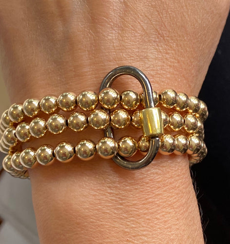 Gold Filled Beaded Bracelets with Caribiner Lock