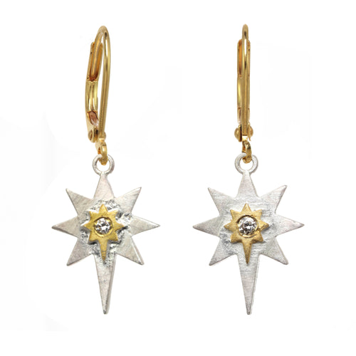 Sterling Silver Star and Diamond Earring