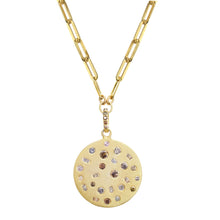 Load image into Gallery viewer, Gold Pendant Necklace with Chocolate Diamonds