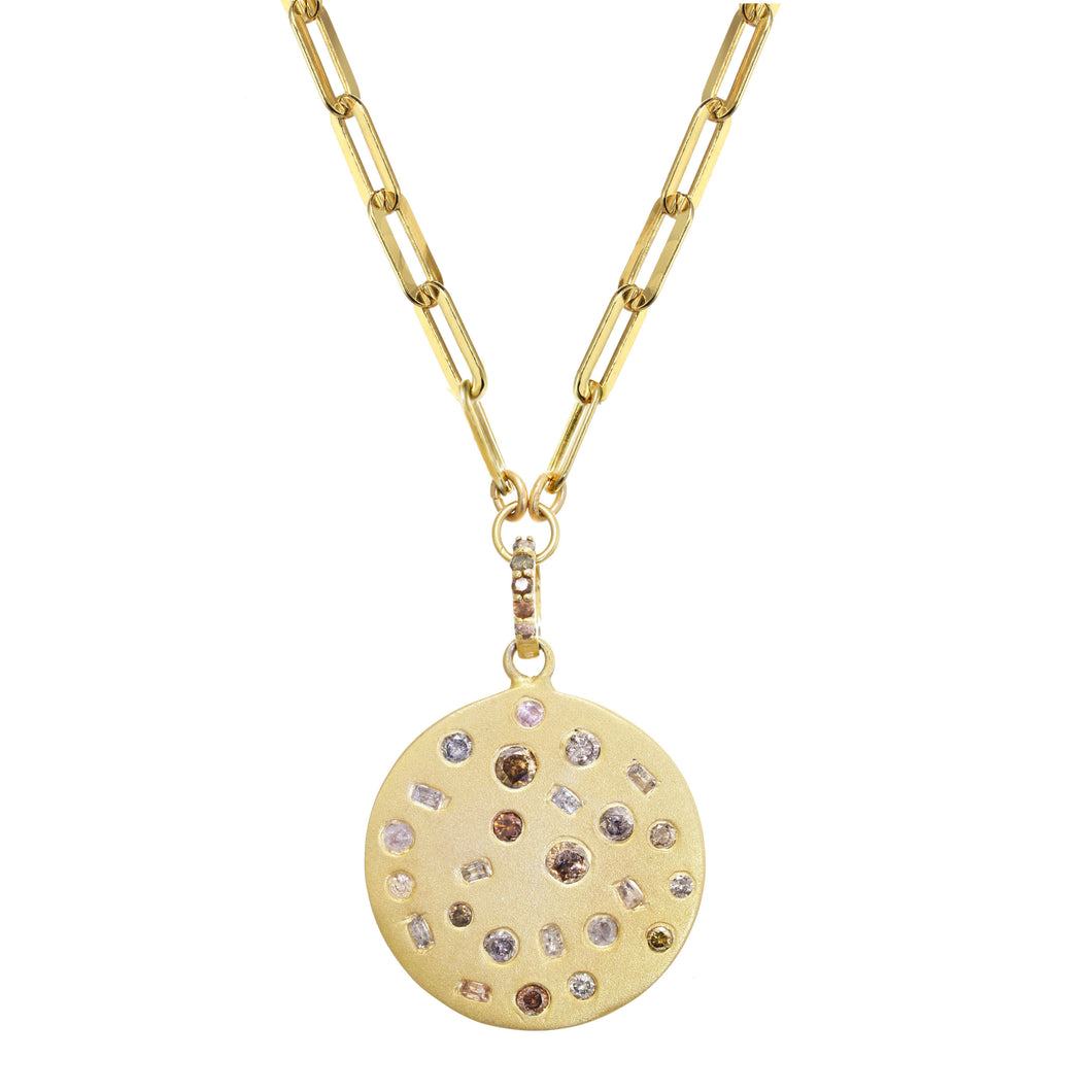 Gold Pendant Necklace with Chocolate Diamonds