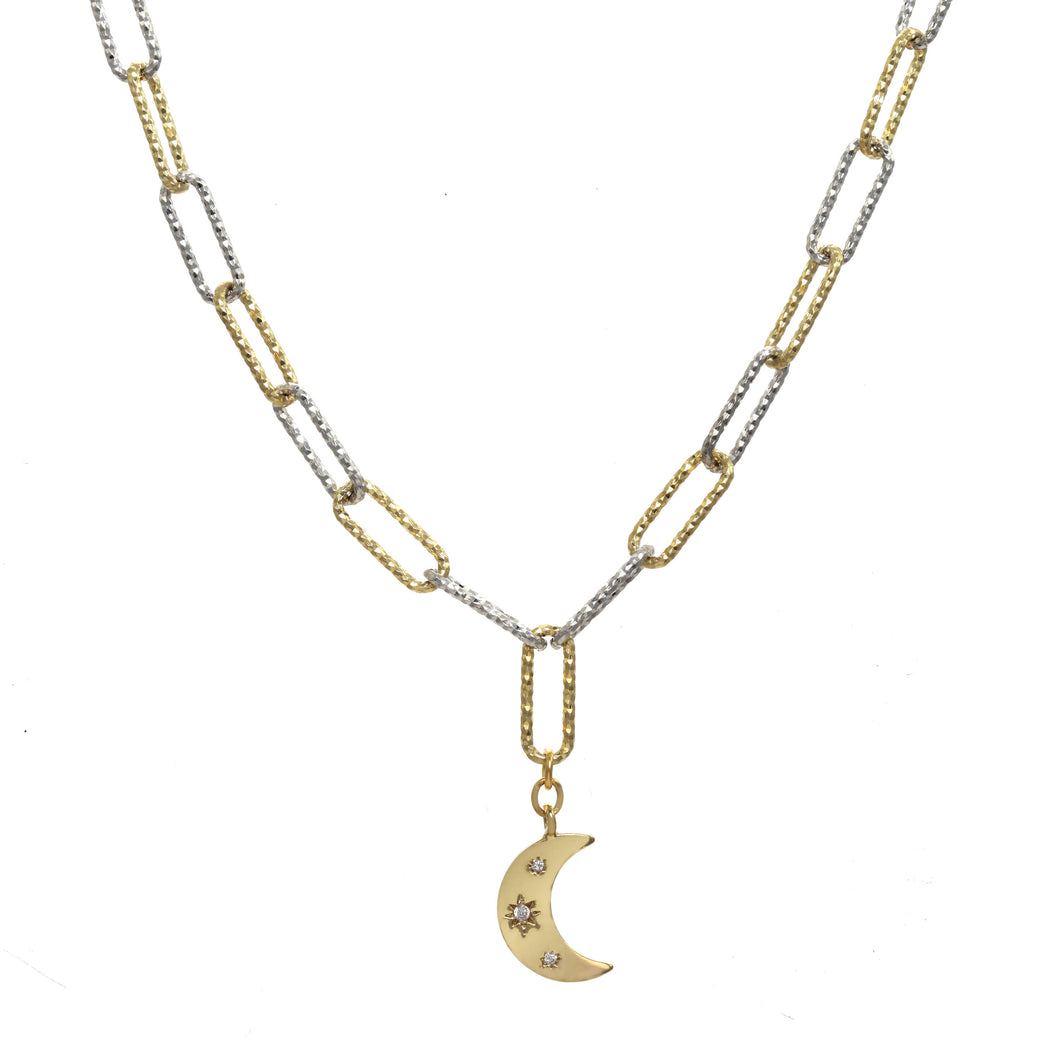 Two Tone Silver and Gold Pendant Moon Necklace