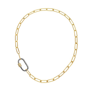 Mixed Metal Diamond Pave Carabiner Necklace