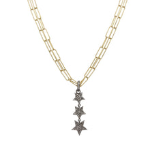 Load image into Gallery viewer, Gold and Diamond Pave Linear Star Necklace