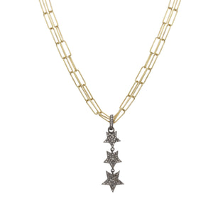 Gold and Diamond Pave Linear Star Necklace
