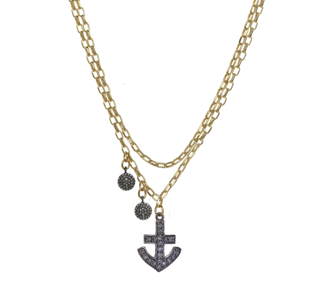 Anchor Down Diamond Necklace
