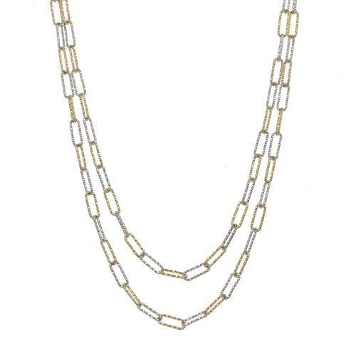 Two Tone Gold and Silver Layered Necklace