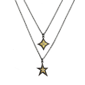Gun Metal Hanging Star Necklace