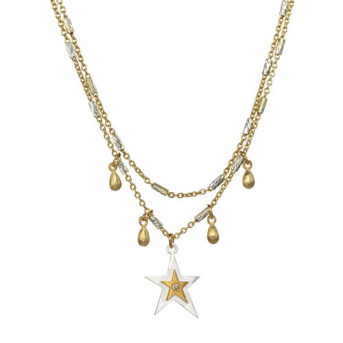 Two Tone Layered Star Necklace
