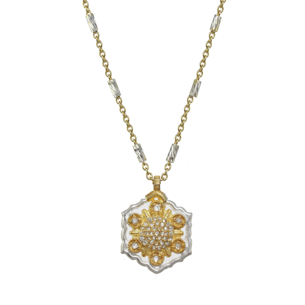 Gold and Silver Diamond Pendant Necklace