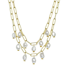 Load image into Gallery viewer, Double Row Pearl Bauble Necklace