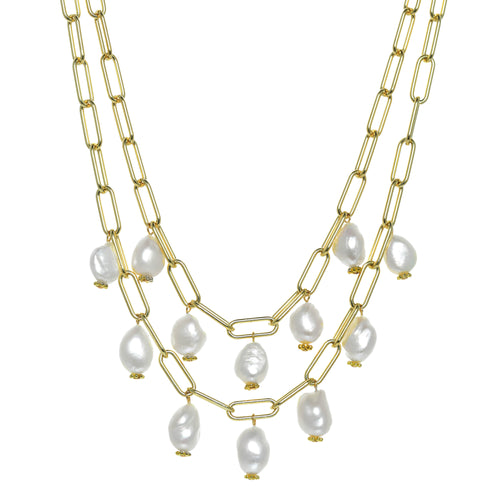 Double Row Pearl Bauble Necklace