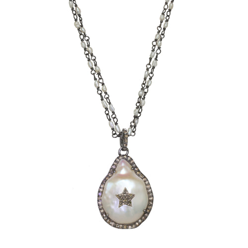 Pearl and Pave Diamond Pendant