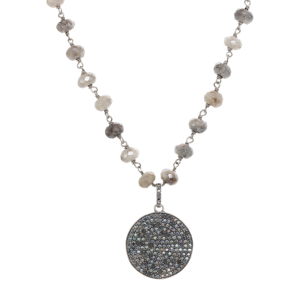 Silverite and Black Spinel Pendant Necklace
