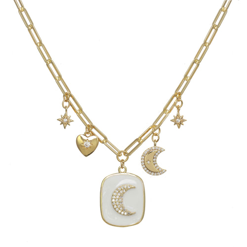 Enamel Celestial Charm Necklace