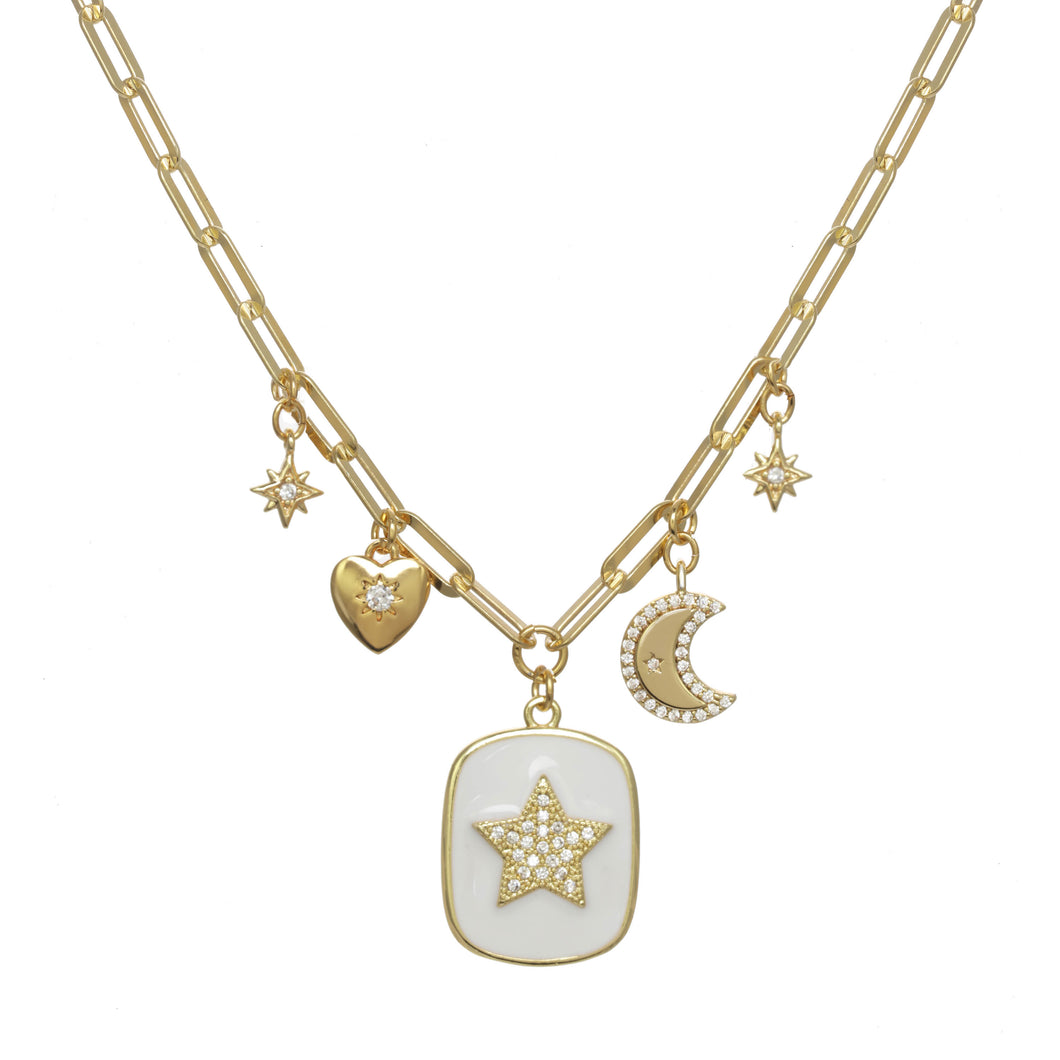 White Enamel Celestial Charm Necklace