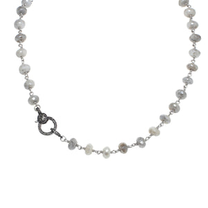 Silverite and Diamond Clasp Necklace