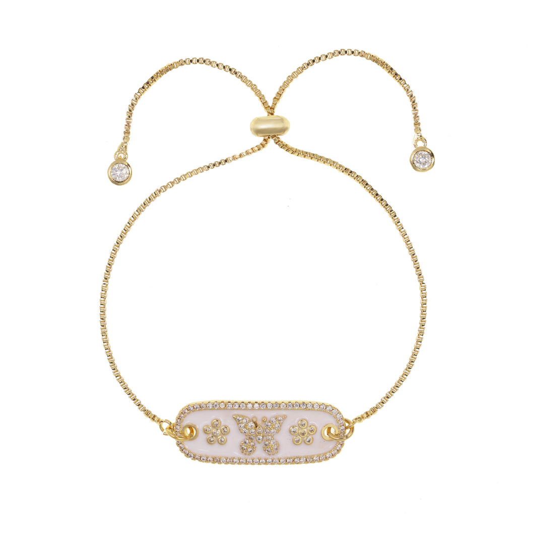 Enamel and Cubic Zirconia Gold Butterfly Bravelet