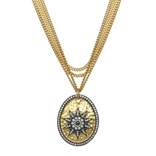 Starburst Pave Pendant Necklace