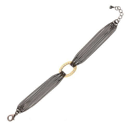 Mixed Metal Pave Link Bracelet