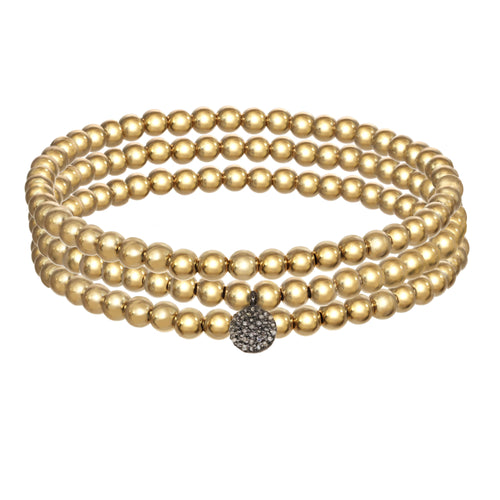 14k Gold Filled Bracelets with Pave Diamond Disc