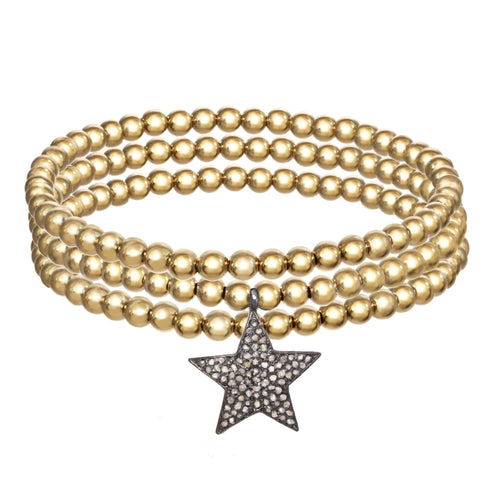 14k Gold Filled Bracelets with Diamond Pave star