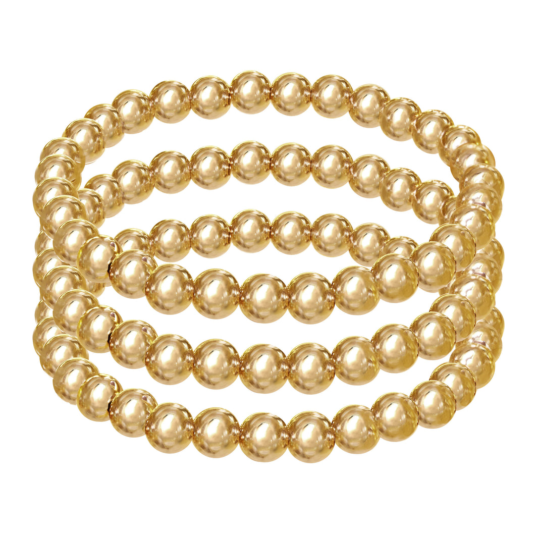 6MM 14k Gold Filled Set of Triple Strand Bracelets