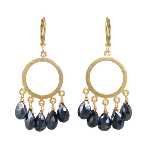 Black Spinel Mini Gold Hoop Earring