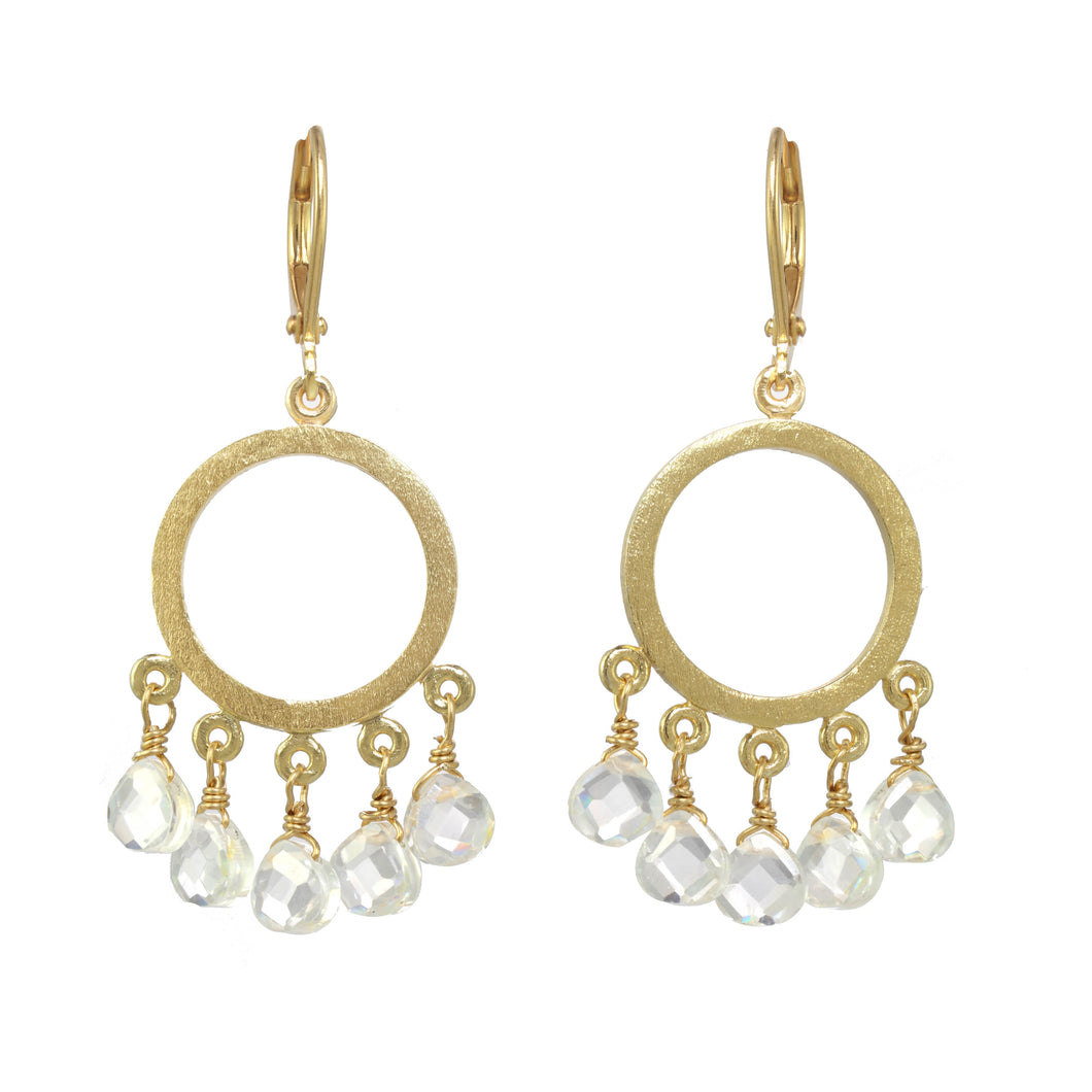 Cubic Zirconia Gold Mini Hoop Earring