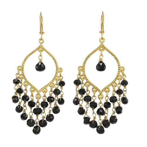 Black Spinel Fringe Chandelier Earring
