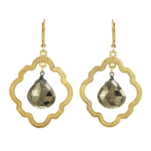 Open Doorknocker Pyrite Earring