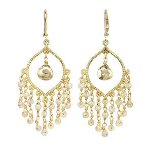 Pyrite and White Chalcedony Chandelier Earring