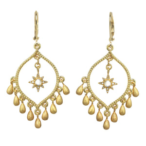 Gold Vermeil Moonstone and Diamond Chandelier Earring