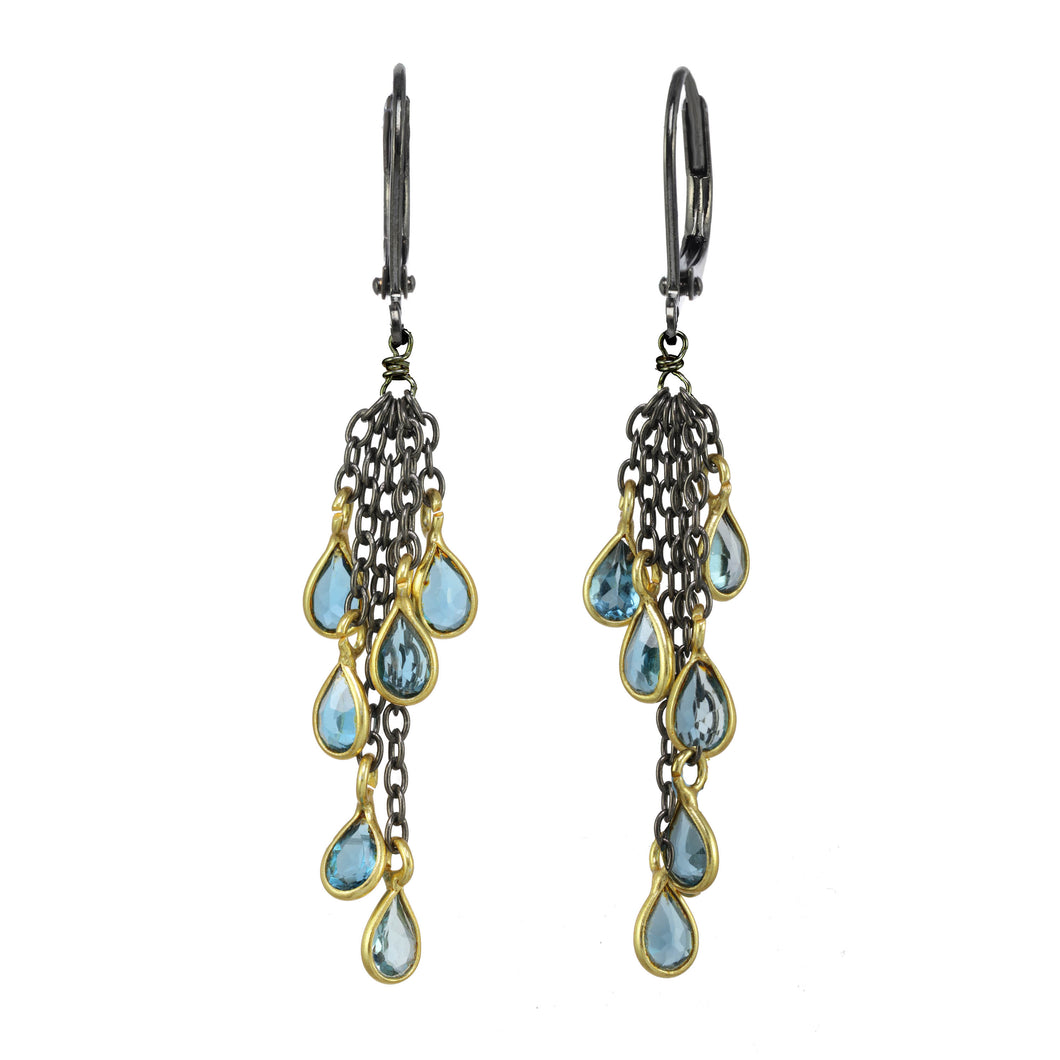 London Blue Topaz and Gun Metal  Cluster Earring