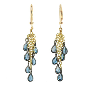 London Blue Topaz and Gold Cluster Earring