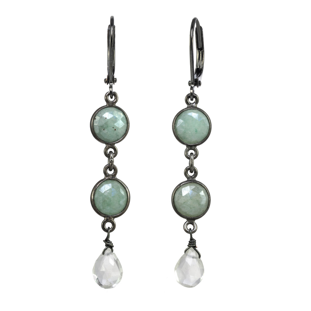 Sea Foam Green Chalcedony Linear Earring