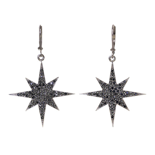 Black Spinel Pave Star Earring