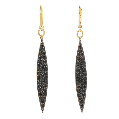 Black Spinel Pave Dagger Earring