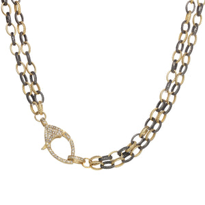Mixed Metal Chain Necklace with Diamond Clasp Lobster Claw