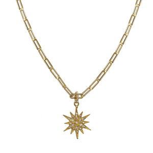 Pave Diamond Gold Star Pendant