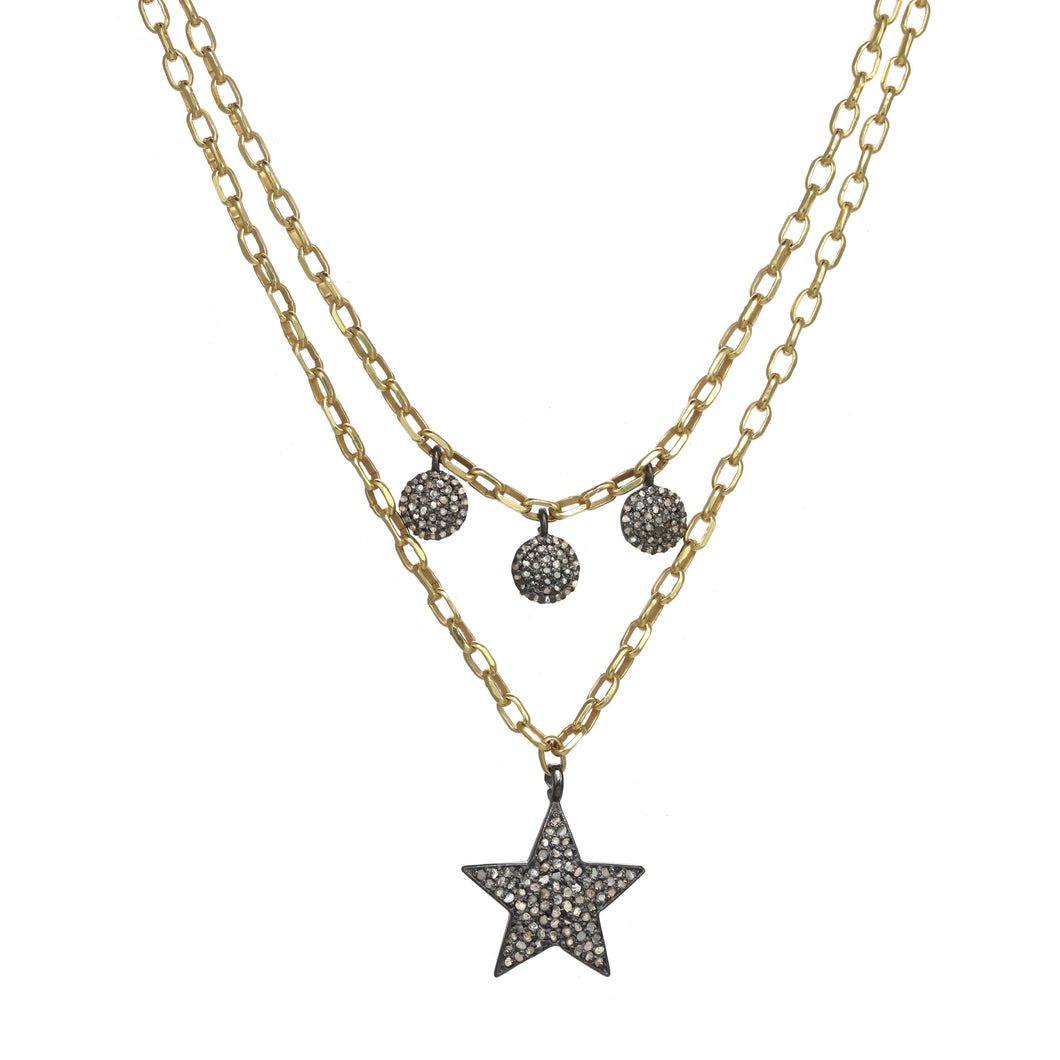 Layered Star and Droplet Diamond Necklace