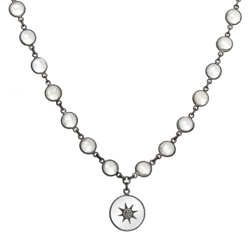 Quartz and Diamond Bezel Necklace