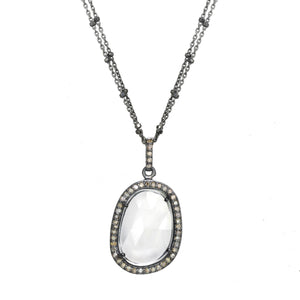 Diamond and Clear Quartz Bezel Necklace