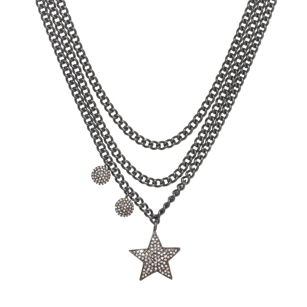 Asymmetrical Diamond Pendant Necklace