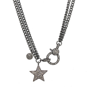 Pave Diamond Pendant and Clasp Necklace