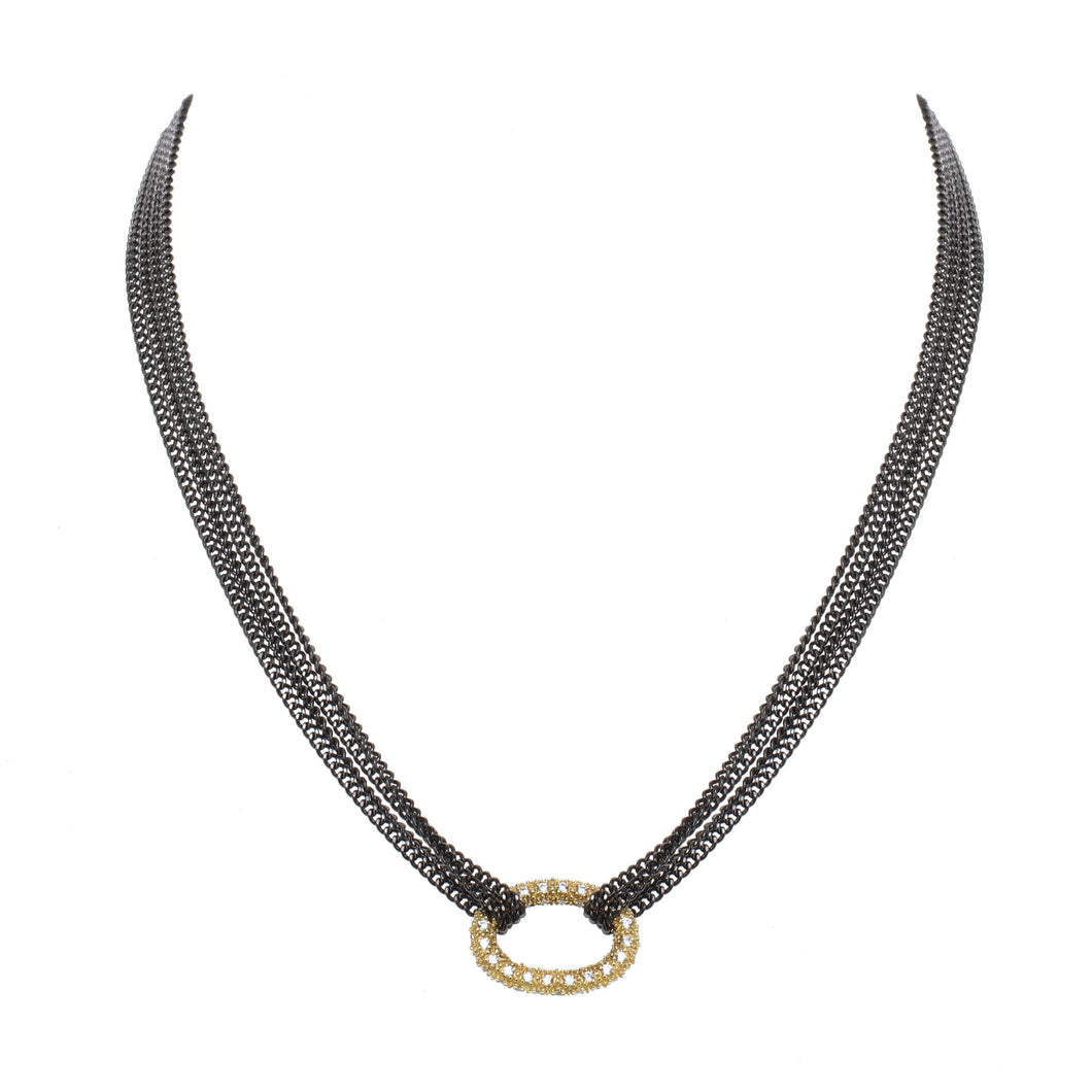 Open Ring Pave Necklace