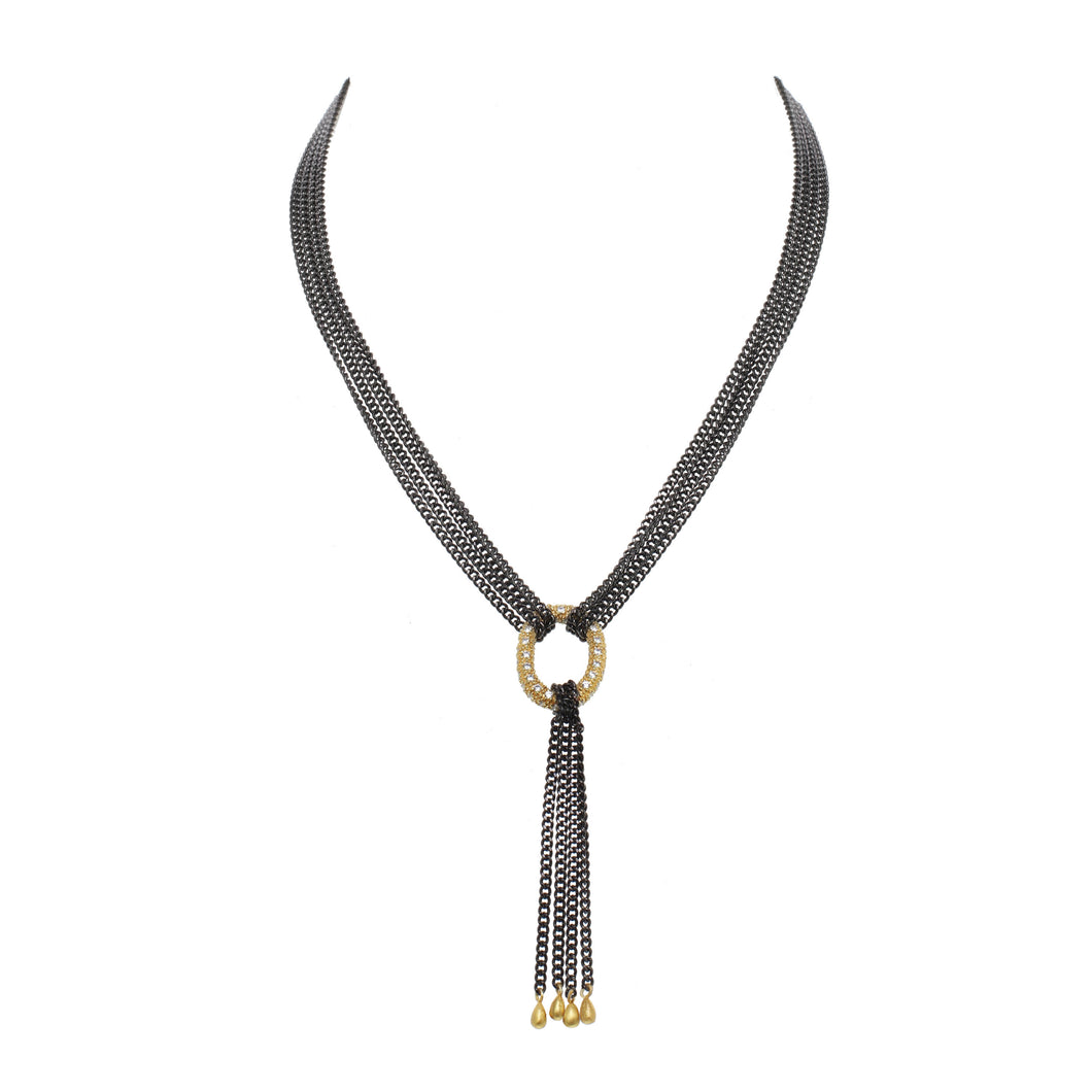 Mixed Metal Tassel Necklace