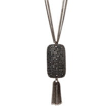Load image into Gallery viewer, Black Spinel Pave Pendant Necklace