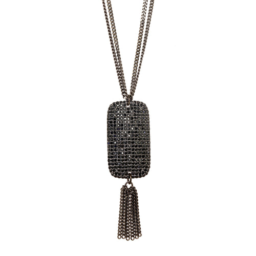 Black Spinel Pave Pendant Necklace