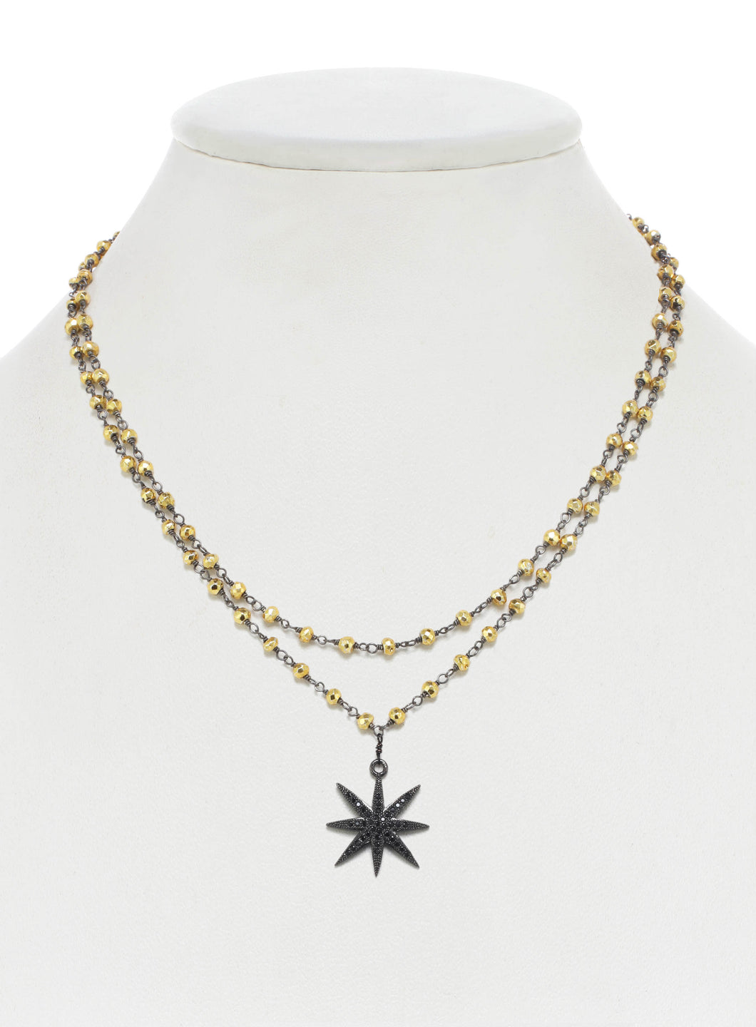 Gold Pyrite and Black Cubic Zirconia Star Necklace